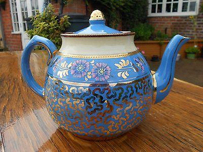 "Vintage Wade Heath Stoneware Teapot Gold/Blue/Cream 7"" tall"