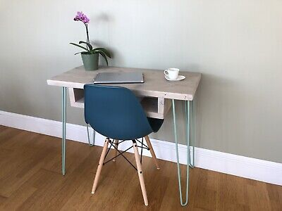 Wooden Desk upcycled vintage retro Duck Egg Hairpin Legs