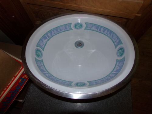 Vintage Mid Century Porcelain China Oval Bathroom Sink Ancient Greek Design