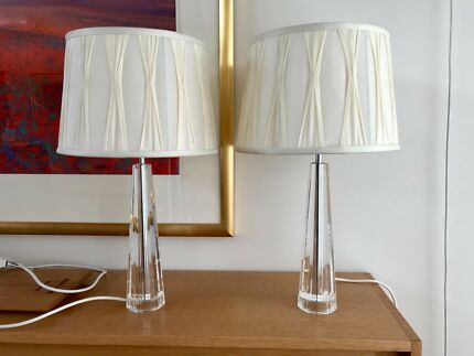 Laura ashley crystal lamps silk shades excellent condition