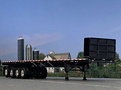 1/64 DCP BLACK 53' WILSON ROAD BRUTE QUAD AXLE FLATBED TRAILER W/ BULKHEAD 1