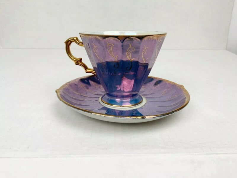 Vintage Bone China Teacup & Saucer Set Iridescent Japan Purlple Gold details