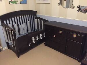 Espresso Baby Crib (x2) and Dresser