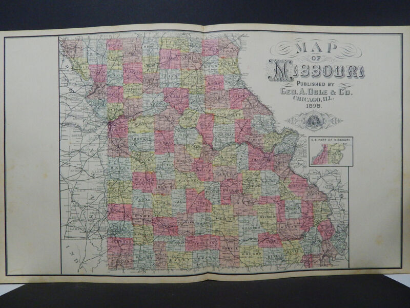 Missouri, Antique State Map, 1898 Hand Color O1#06