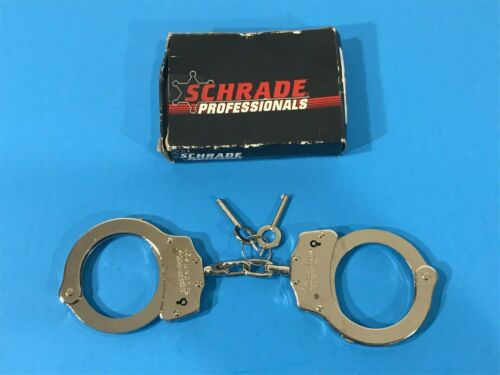 NEW SCHRADE NICKLE FINISH HANDCUFFS POLICE CHAIN LINK HAND CUFFS