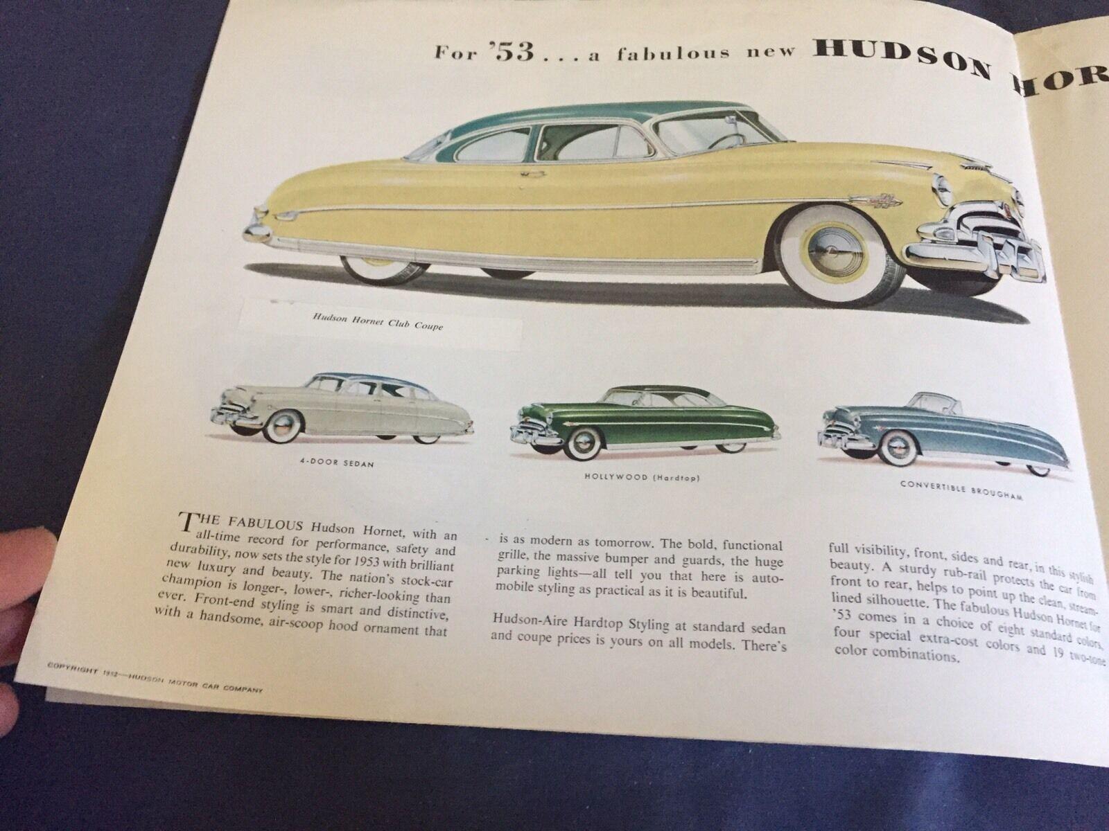 1953 HUDSON HORNET Super Wasp And Wasp Pacemaker Color Brochure
