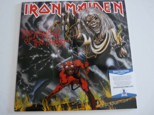 Bruce Dickinson Iron Maiden Number Of Beast Autograph Signed LP BAS Certified