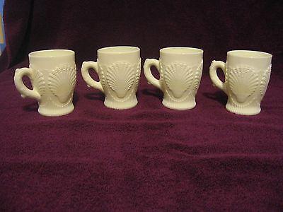 Beaded Shell Mug Custard Marked Northwood Set of 4 believed to be made by fenton