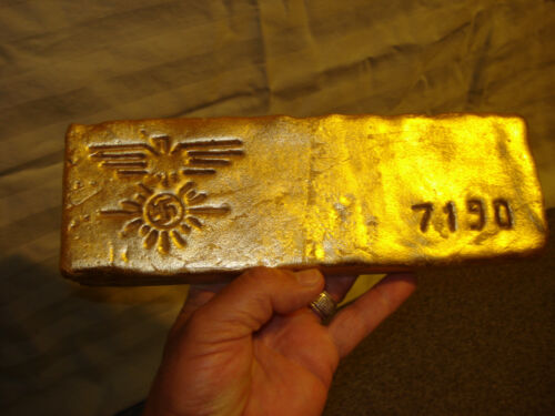 Fake fine GOLD bullion Bar (replica) paper weight  7190 gr Ounces Troy plaster