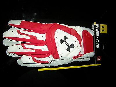 Brand New Boys Red & White Under Armour Yard Batting Gloves, Size M