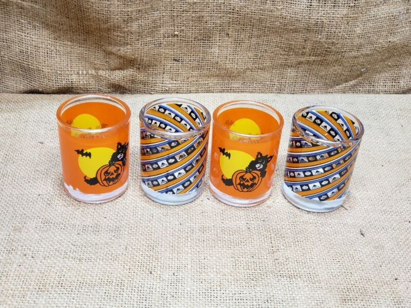 "4 VINTAGE HALLOWEEN GLASS VOTIVE 2.75"" PUMPKIN JACK O LANTERNS CAT CANDLE HOLDER"