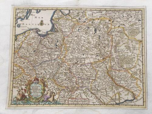 1717 LA POLOGNE POLAND MAP VANDERAA HANDCOLORED COPPERPLATE POLSKA LITHUANIA