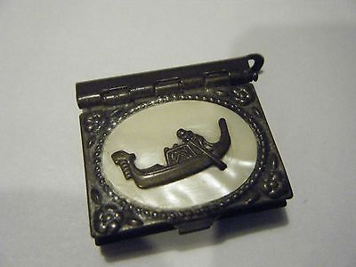 "ANTIQUE MINIATURE 1"" PHOTO ALBUM VENICE ITALY FOB BOOK ORNATE COVERS GONDOLA MOP"