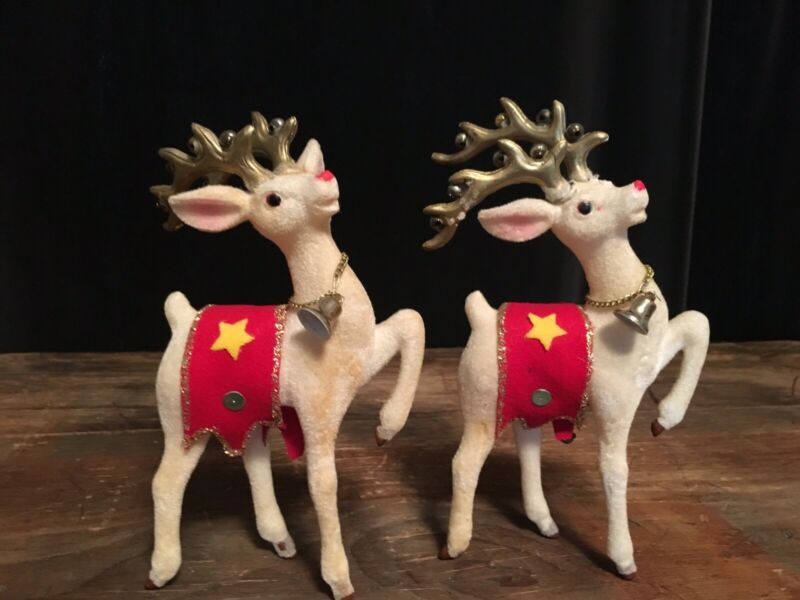 Antique Rudolph The Red Nose Reindeer Celluloid Flocked Made in Japan Set of 2