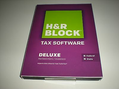 H & R Block 2014 Deluxe Federal & State. Imports Turbotax...