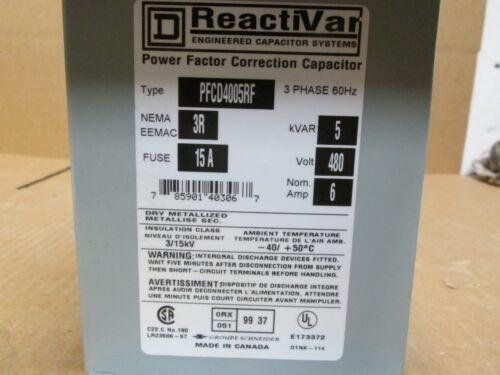 Square D ReactiVAR Capacitor 15A 480V Catalog # PFCD4005RF **NNB**