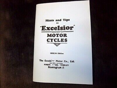 RIDERS HINTS & TIPS MANUAL FOR ALL EXCELSIOR MODELS 1933-34 EXC02/A5
