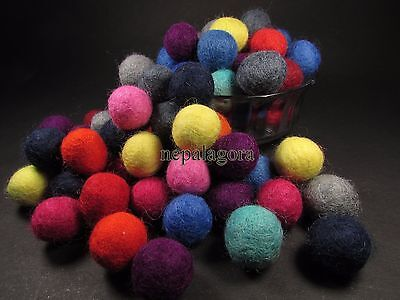 F74 Lot of 100 felt ball 2cm handmade DIY Multi Color supplies Wholesale Nepal