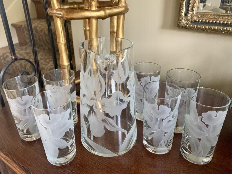 Vintage 8Pcs Frank Oda Orchid Floral Etched Glass Pitcher&Tumblers Beverage Set