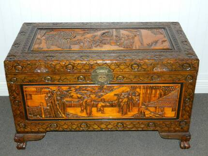 Camphor Wood Chest - Vintage hand carved Chest or trunk Mount Hutton Lake Macquarie Area Preview