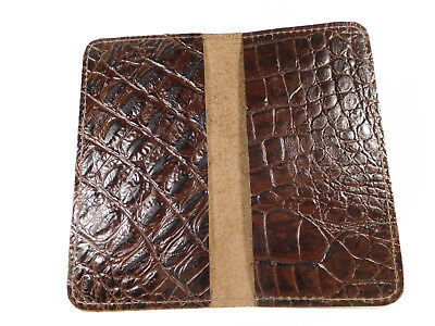 Bay State Exclusive Brown Gator Leather Standard Checkbook Cover-Made in USA.