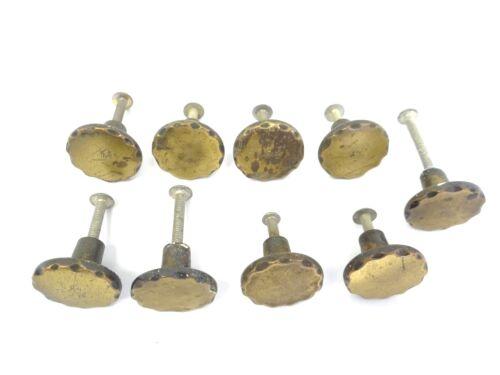 Vintage Set 9 Used Brass Metal Cabinet Drawer Handles Pulls Knobs Parts Hardware
