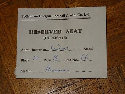 Ticket Tottenham v Arsenal Div 1 March 29th 1982 Duplicated Reserved seat