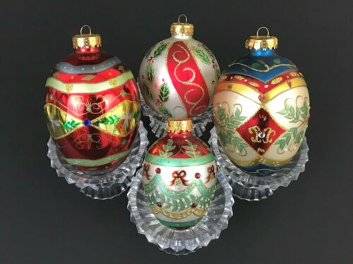 4 UT Hand Painted Rhinestones Jeweled Glitter Egg Ball Glass Christmas Ornaments