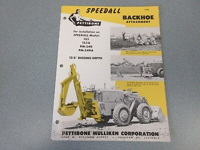 Rare Pettibone Speedall Backhoe Attachment Sales Sheet