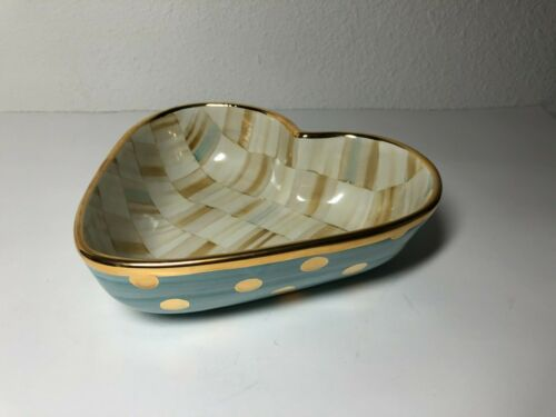 Mackenzie Childs Parchment Check Enamel Heart Bowl with gold dots RARE