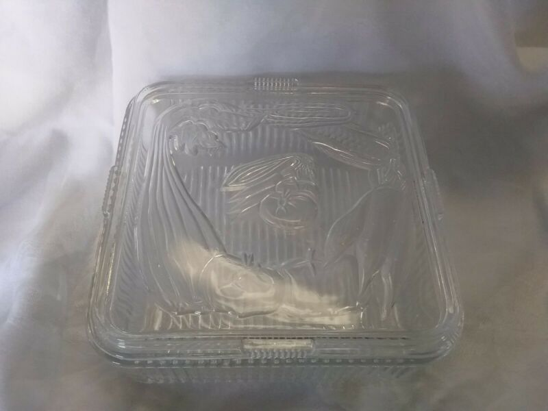 Vintage Refridgerator Glass Ribbed Dish - Vegtable Embossed Lid Clear Glass