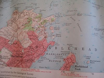 Vintage 1956 Marblehead, MA Colored Map - Dept of Public Works - also Manchester