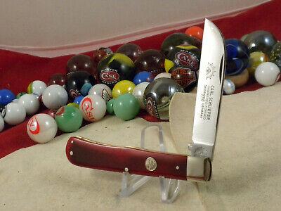 CARL SCHLIEPER EYE BRAND SINGLE BLADE SLIP JOINT KNIFE MINT RED BONE GERMANY