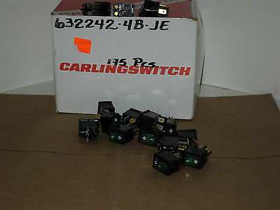 1 Carling Rocker Switch - Green Illuminating - 632242-4b-je 12a 125vac