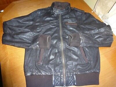 SUPERDRY SOFT NAPPA REAL LEATHER BOMBER JACKET BROWN ICONIC CHEST 40'' IN VGC!!