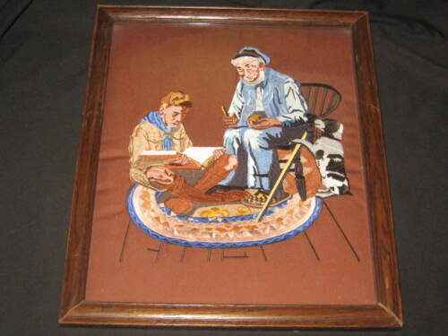 A Good Turn, Norman Rockwell Boy Scout Embroidered Framed Print