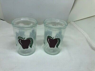 2 Vintage Jelly Jars Juice Glasses Grapes Apple Strawberry 4