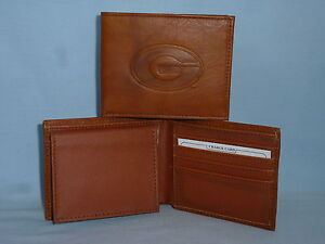 GEORGIA BULLDOGS   Leather BiFold Wallet    NEW    brown 4