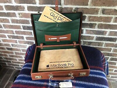 VINTAGE 1980's FRANCE HARDSIDE BOX BELTING LEATHER MACBOOK BRIEFCASE BAG R$1098