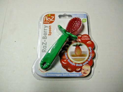 Raz-Berry Spoon By Raz Baby, Silcone, Red & Green, For 6 Months & Up,Brand New