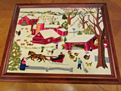 VINTAGE BEAUTIFUL EMBROIDERED WINTER FARMHOUSE SCENE FRAMED 20-3/4X 17