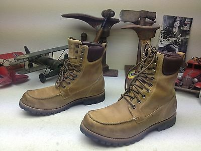 DISTRESSED BROWN TAN TIMBERLAND LEATHER DIRTY TRAIL BOSS BOOTS LACE UP WORK 8 D