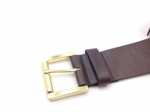 $325 Michael Kors Women Brown Gold Roller Buckle Pvc Jet Set Dress Belt Size 4 M