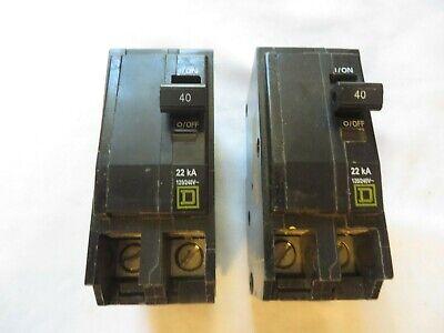 Square D Circuit Breaker Type Qob 40 Amp 2 Pole 120240v Tested Bolt On Lot Of 2