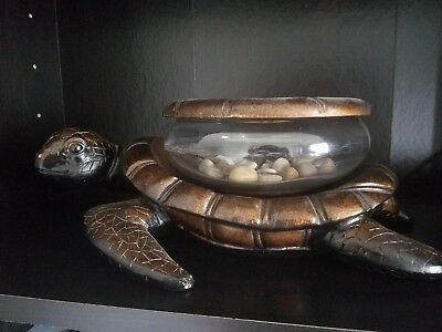 Betta Beta Fish Decorative Gold Bronze Turtle Tank Glass Bowl Aquarium Table Art