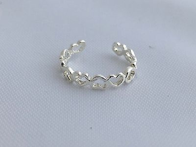 Open small heart shaped toe ring genuine .925 sterling silver dainty