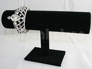 Single 1 Tier Black Velet Jewelery Bangle Bracelet Watch Display Stand Rack Tbar