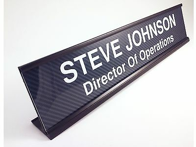 Personalized Desk Name Plate Carbon Fiber Look Insert With Black Holder 2x10
