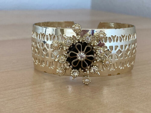 Vintage Faux Pearl and Rhinestone Accented Gold Tone Cuff Bracelet