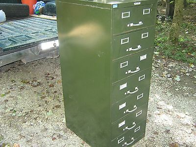 7 Drawer Steelmaster Metal Card File Cabinet Industrial Steampunk Vintage